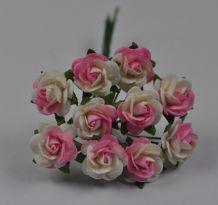 LIGHT PINK WHITE ROSES (1.2cm) Mulberry Paper Roses